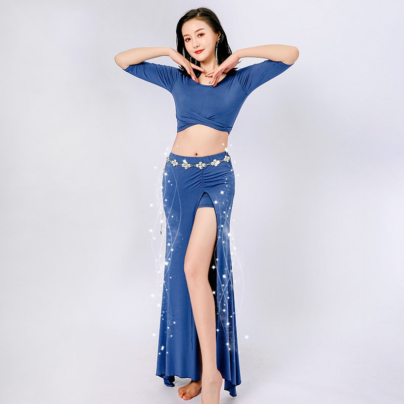 New Women Sexy Fashion Bellydance Oriental Costumes Set Top Skirts Split Practice Clothes Top Skirt Professional Belly Dance