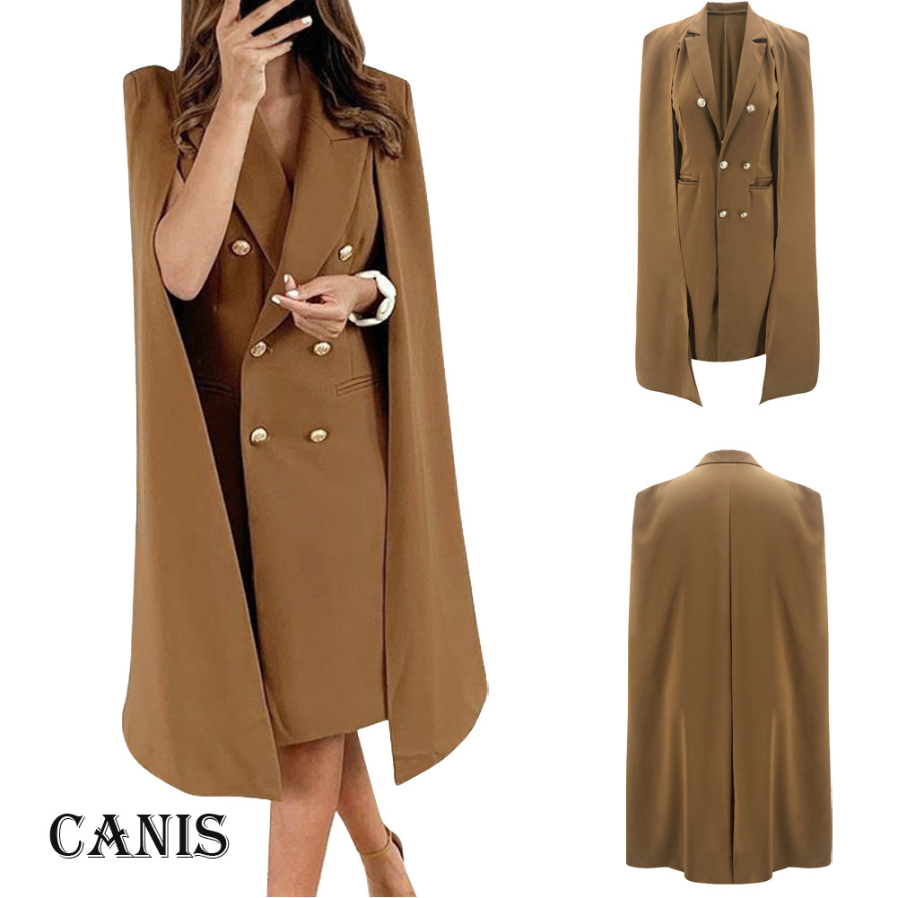 Women Solid Brown Double Breasted Suit Jacket Designer Office Ladies Blazer Pockets Work Wear Tops