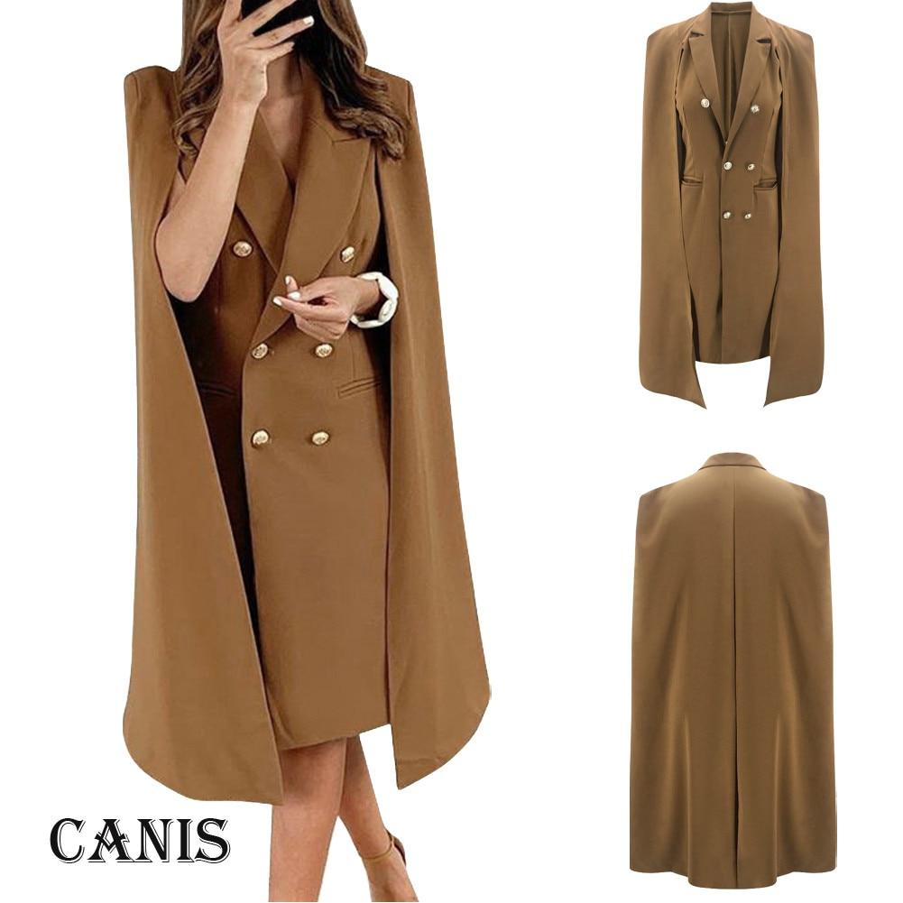 Women Solid Brown Double Breasted Suit Jacket Designer Office Ladies Blazer Pockets Work Wear Tops