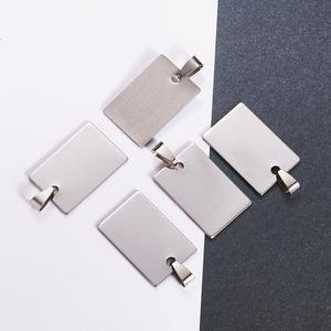Image 5 - 50pcs Stainless Steel Tag Metal Stamping Blank Tags with Snap on Bail for Charm Pendant Jewelry DIY Making Polished