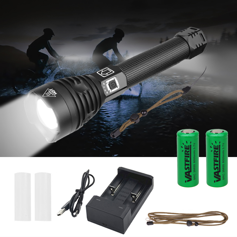 vastfire 2500 lumens xhp90 led lanterna usb recarregavel zoomable tatico acampamento caca tocha luz 2 26650