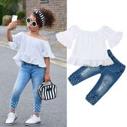 Летние топы с открытыми плечами для маленьких девочек, джинсовые брюки, джинсовый комплект одежды