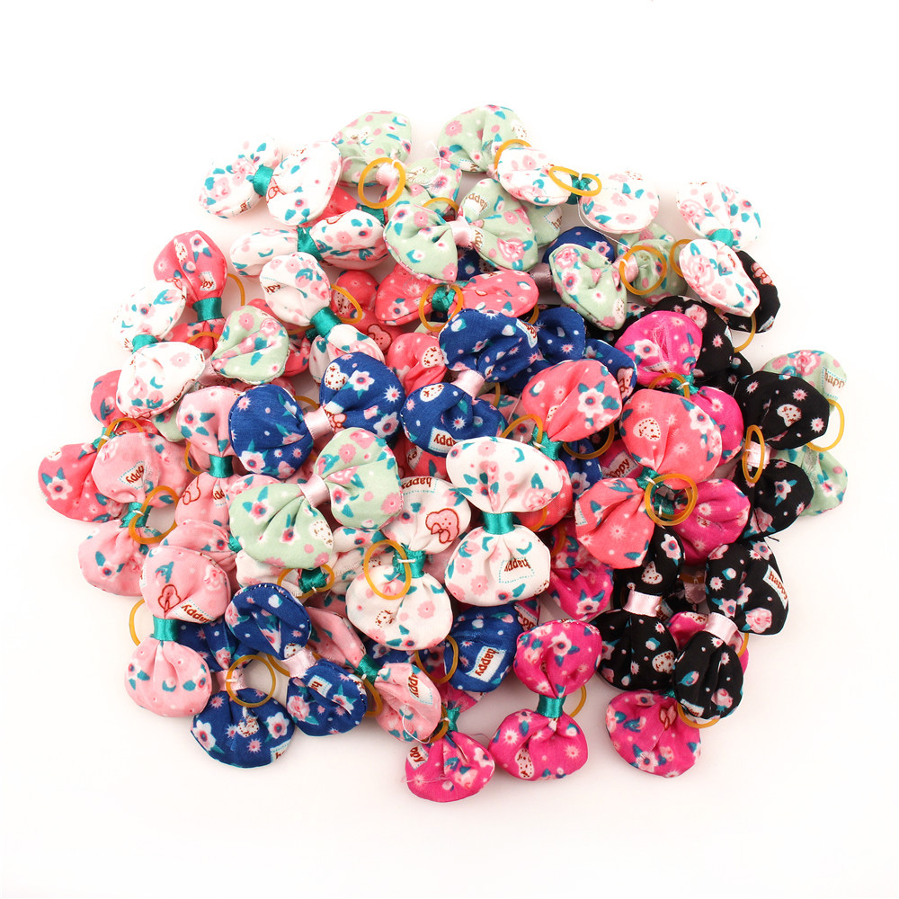 Small Dogs Bows Hair Accessories Yorkshire Terrier Supplies For Pets Product Grooming Hair Bows Gumki Dla Psa Honden Strikjes