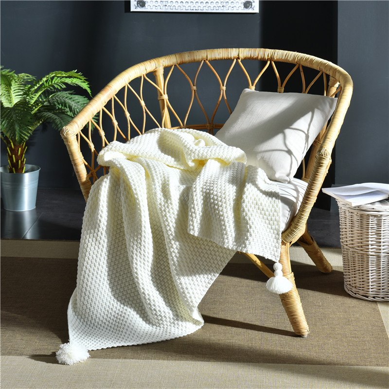 Nordic Ins Chunky Knit Blanket Shawl Air Conditioning Office Blankets for Beds Weighted