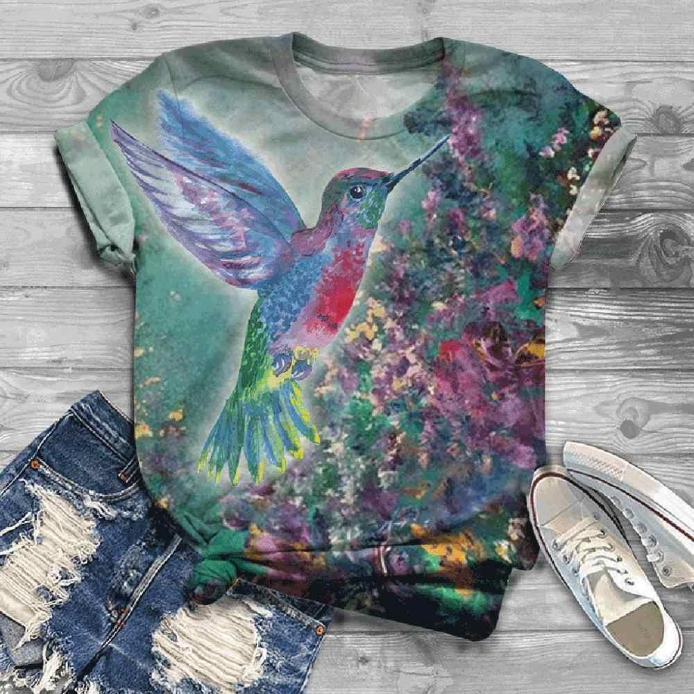 2020 estate Asino Uccello Della Stampa Della Maglietta Più Il Formato Delle Donne T-Shirt Manica Corta 3D Animal Print O-Collo Magliette E Camicette Tee T-Shirt Mujer poleras