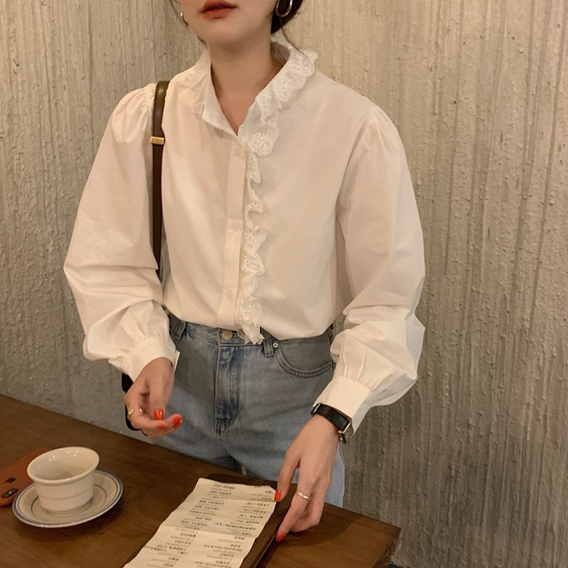 REALEFT Elegant White Women's Blouse Lace Patchwork Lantern Sleeve Buttons Office Shirts Tops Female 2021 New Spring Summer 2