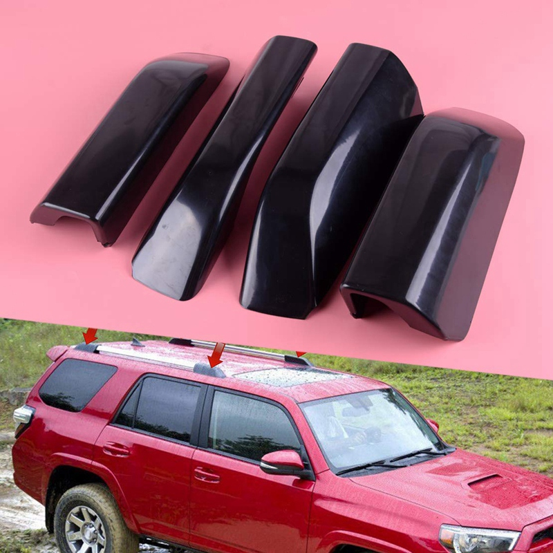 Black ABS Roof Rack Bar Rail End Protection Cover Shell 4PCS for Toyota 4Runner N280 2010-2018