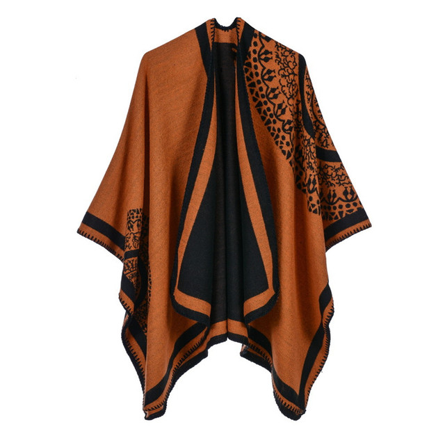 Luxury Brand Ponchos coat 2020 Cashmere Scarves Women Winter Warm Shawls and Wraps Pashmina Thick Capes blanket Femme Scarf 6