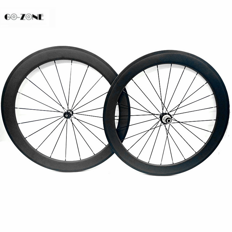 Go-zone roue carbone pour velo route 60x25mm clincher or tubular road bike carbon wheels Powerway R39 100x9 130x9 700c wheelset(China)