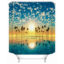 цена на Coconut tree beach sea view polyester printing waterproof bathroom shower curtain bathroom partition curtain with hook