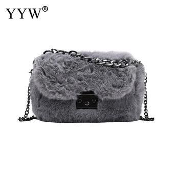 2020 Winter Fashion New Ladies Square bag High quality Soft Plush Women's Designer Handbag Rivet Chain Shoulder Messenger bags