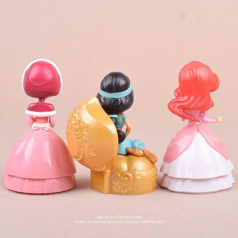 Disney alicja Mermaid Jasmine księżniczka 3 sztuk/zestaw 11cm figurka Anime Mini kolekcja figurka model zabawkowy dla dzieci prezent