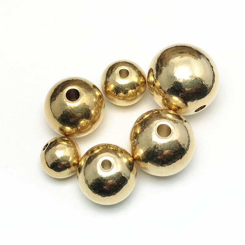 Couleur or clair rond en laiton massif métal 4mm 5mm 6mm 8mm 10mm 12mm 14mm 16mm 18mm entretoise en vrac artisanat perles pour la fabrication de bijoux