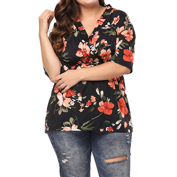 Plus Size Female Printed Tops Chiffon 2020 Fashion Blouses Women Summer Floral Print Blouse 3/4 Sleeve Wrap V-neck Shirt Top D30 attractive floral printed v neck long sleeve blouse for women