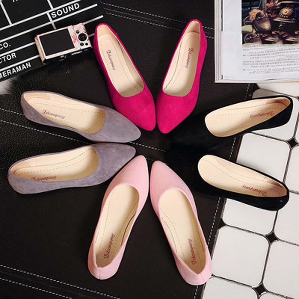 2020 Plus Size 36 40 Women Flats Slip on Flat Shoes Solid Color Woman Boat Shoes Black Loafers Faux Suede Ladies Ballet Flats|Women's Flats| - AliExpress