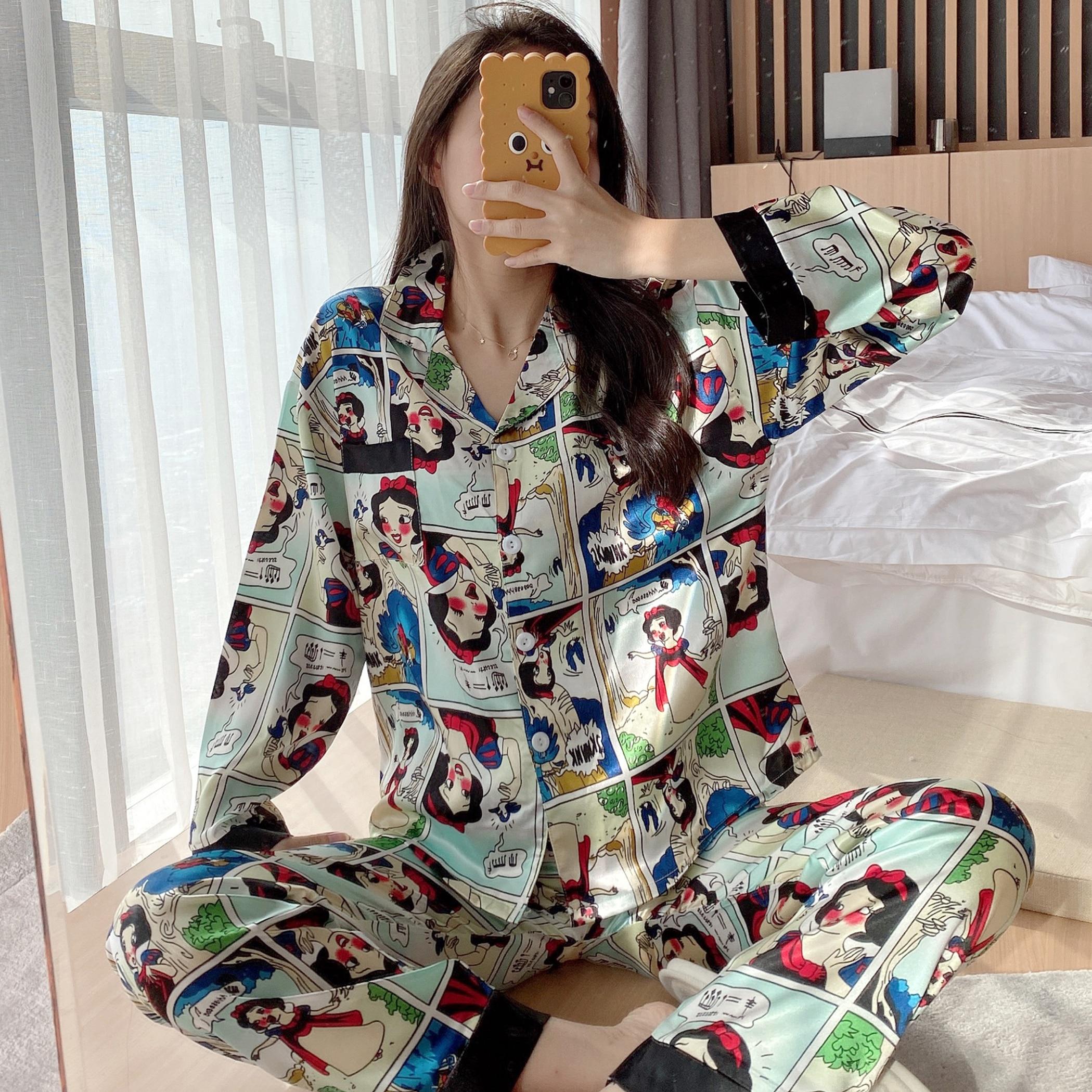 2020 Satin Pyjamas Women Pajama Set Lovely Cartoon Rabbit Printed Long Sleeve Silk Sleepwear Pink Pijama Mujer Female Nightsuit