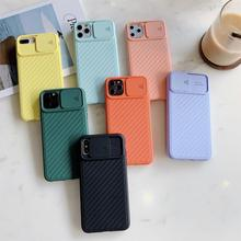 Slide Camera Lens Protection Full Cover For iPhone 11 Pro Max XS X XR 6 6S 7 8 Plus Silicone Candy Color Stripe Shockproof Cases