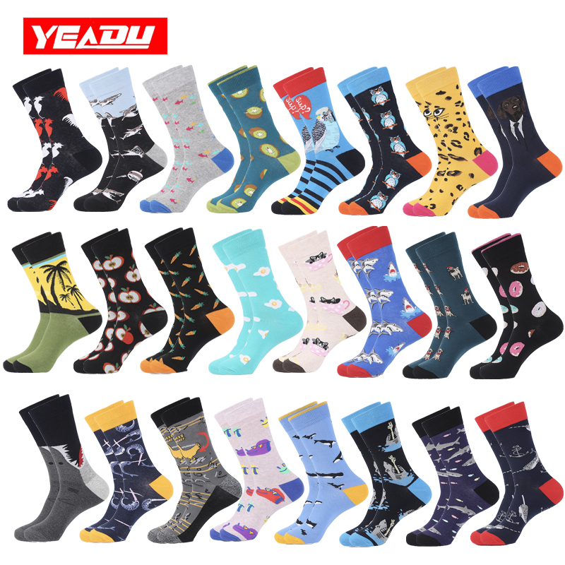 YEADU Colorful Combed Cotton Men Crew Socks Big Size Harajuku Happy Funny Owl Dog Shark Cock Coconut Tree Christmas Gift For Men