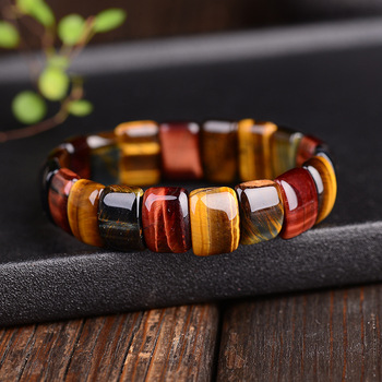 BOEYCJR Colorful Tiger Eyes Natural Stone Beads Bangles & Bracelets Handmade Jewelry Energy Bracelet for Women or Men 1