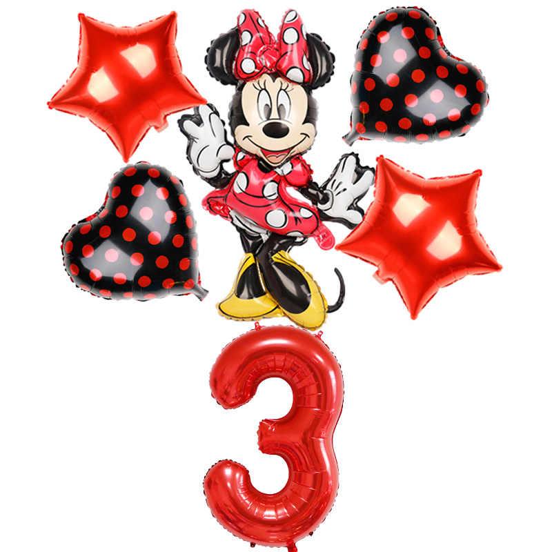 6 sztuk Mickey Minnie Mouse balon kreskówka foliowe dekoracje na imprezę urodzinową dzieci 40 cali czerwona liczba baloes 18 cali dot helium globos