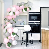 DIY Pink Gray White Balloons Arch Garland Gold Confetti Balloon Decorating Baby Shower Anniversary Birthday Party Decorations