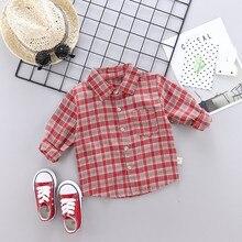 Kids Baby Boy Shirts Long Sleeve Plaid Print