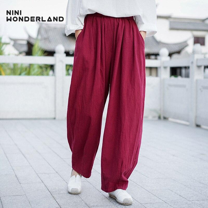 NINI WONDERLAND 2019 Autumn Cotton Linen Harem Pants Women Pure Color Casual Bloomers Female Elastic Waist Loose Trousers Spring thumbnail