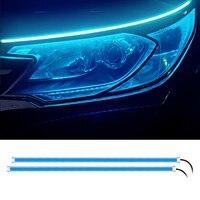 Luces LED de circulación diurna para coche, tira Flexible y suave, resistente al agua, intermitente, color blanco, amarillo, 12V, 2 uds.