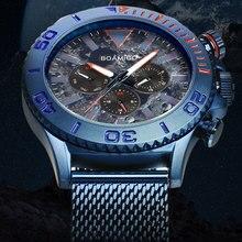 BOAMIGO Топ люксовый бренд Мужские часы модные спортивные Бизнес Кварцевые часы Дата Неделя Нержавеющая сталь сетка наручные часы Мужские часы