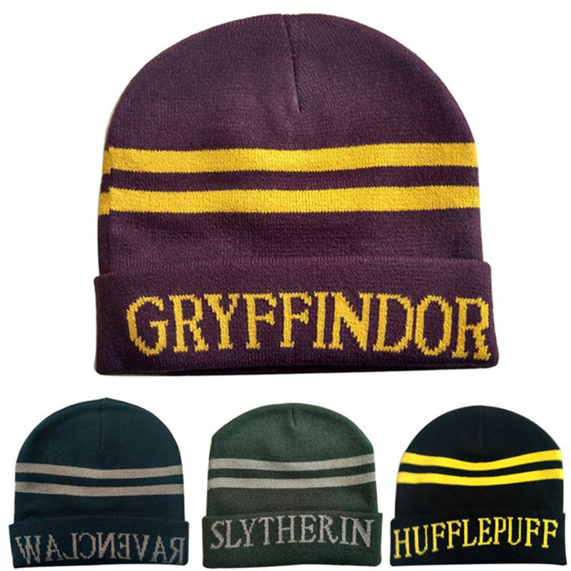 College Hat Gryffindor Slytherin Hufflepuff  Cosplay Halloween Costume Winter Wool Warm Hat Adult Kids New Year Gift
