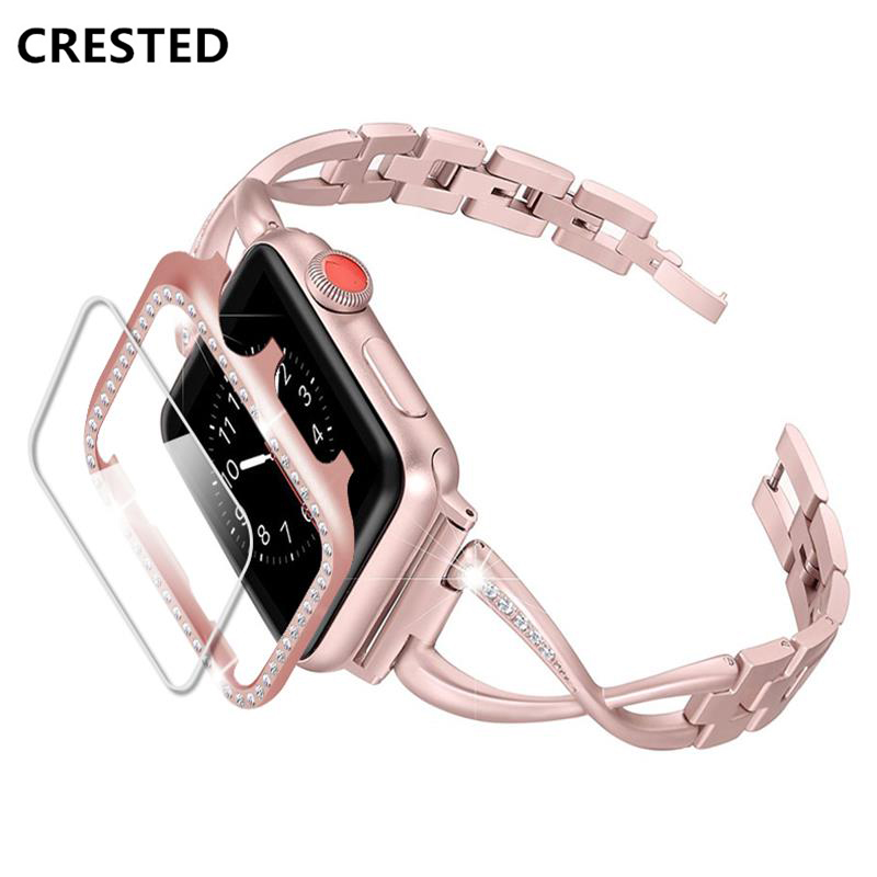 Diamond Strap For Apple Watch Band 5 4 44mm 40mm Iwatch Band Watchband+Diamond Case Cover And Screen Protector