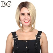 BCHR Short Bob Lace Front Wig for Women Ombre Blonde Synthetic Wigs 13*4 Hair Free Shipping