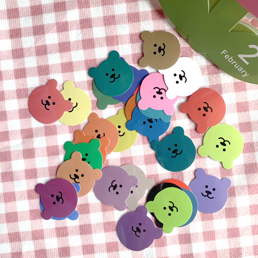 30pcs / Bag Candy Color Bear Sticker DIY Scrapbook Album Diary Mobile Phone Gift Seal Happy Plan Decoration Sticker
