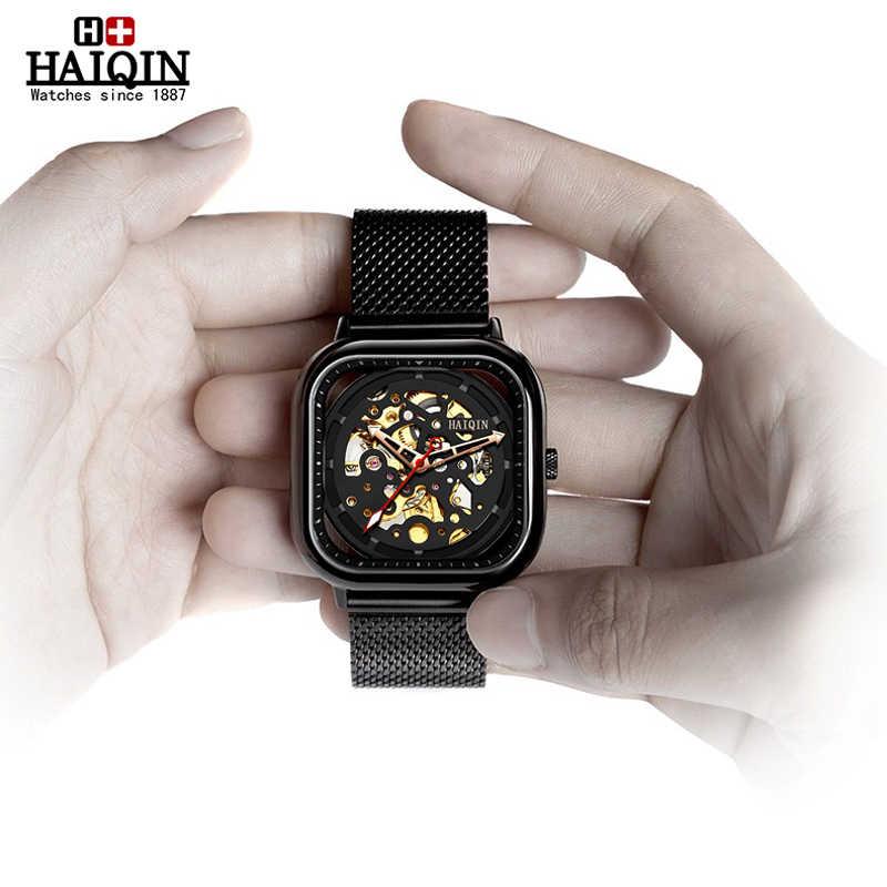 HAIQIN אופנה ספורט Mens שעונים למעלה מותג יוקרה כיכר מכאני שעון גברים wirstwatch הולו שלד erkek kol saati 2019