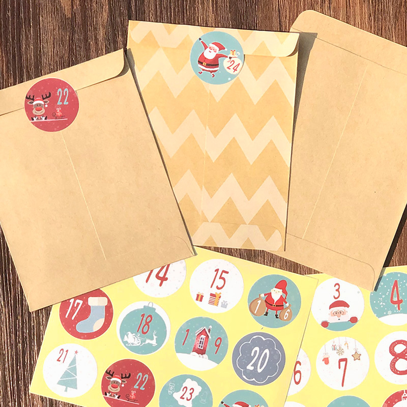 24pcs Kraft Paper Bags With Merry Christmas Number Sticker Dots Striped Gift Bag Xmas Candy Gift Packing Bag New Year Supplies