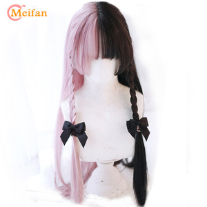 MEIFAN Long Wavy Ombre Black White Pink Heat Resistant Synthetic Wigs for Women Halloween Cosplay Costume Wig