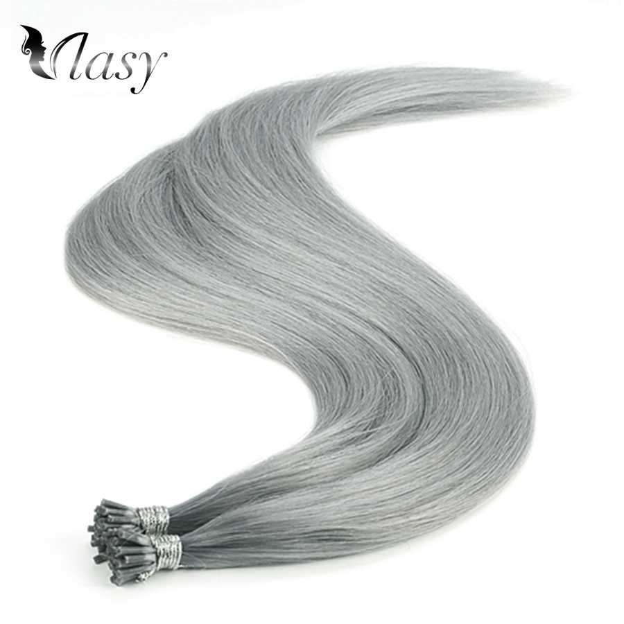 Vlasy 1g/s Keratin Pre Bonded I Tip Remy Hair Extensions Straight Capsules Grey Color Double Drawn Fusion Human Hair 20'' 28''