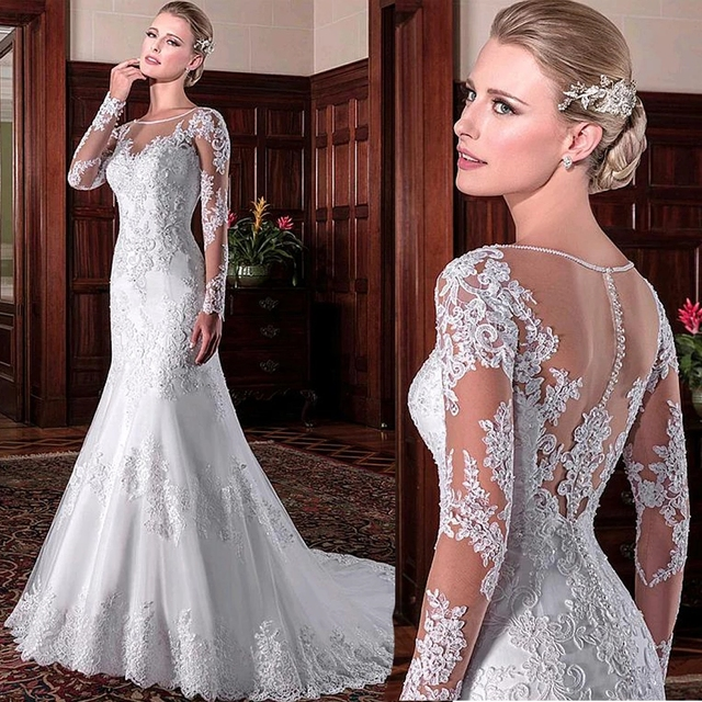 LAYOUT NICEB Mermaid Wedding Dress 2021 Illusion Back Vestido De Noiva Long Sleeve Beads O Neck Lace Appliques Bride Bridal Gown 1