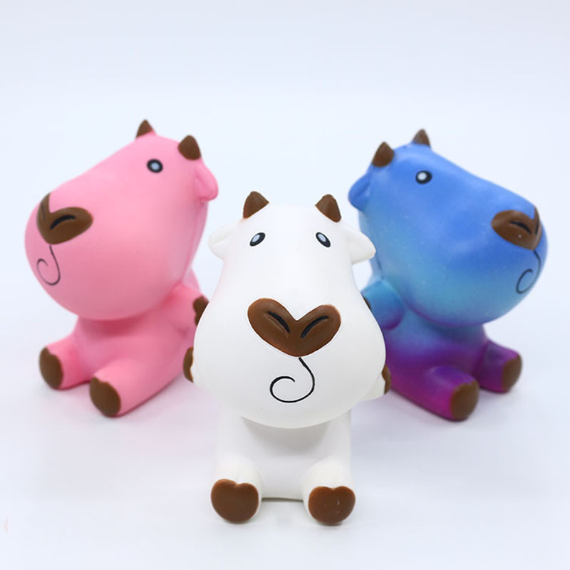Cute Jumbo Cattle Squishy Simulation Plant Slow Rising Soft Squeeze Toy Cream Scented Stress Relief For Kid Xmas Fun Gift