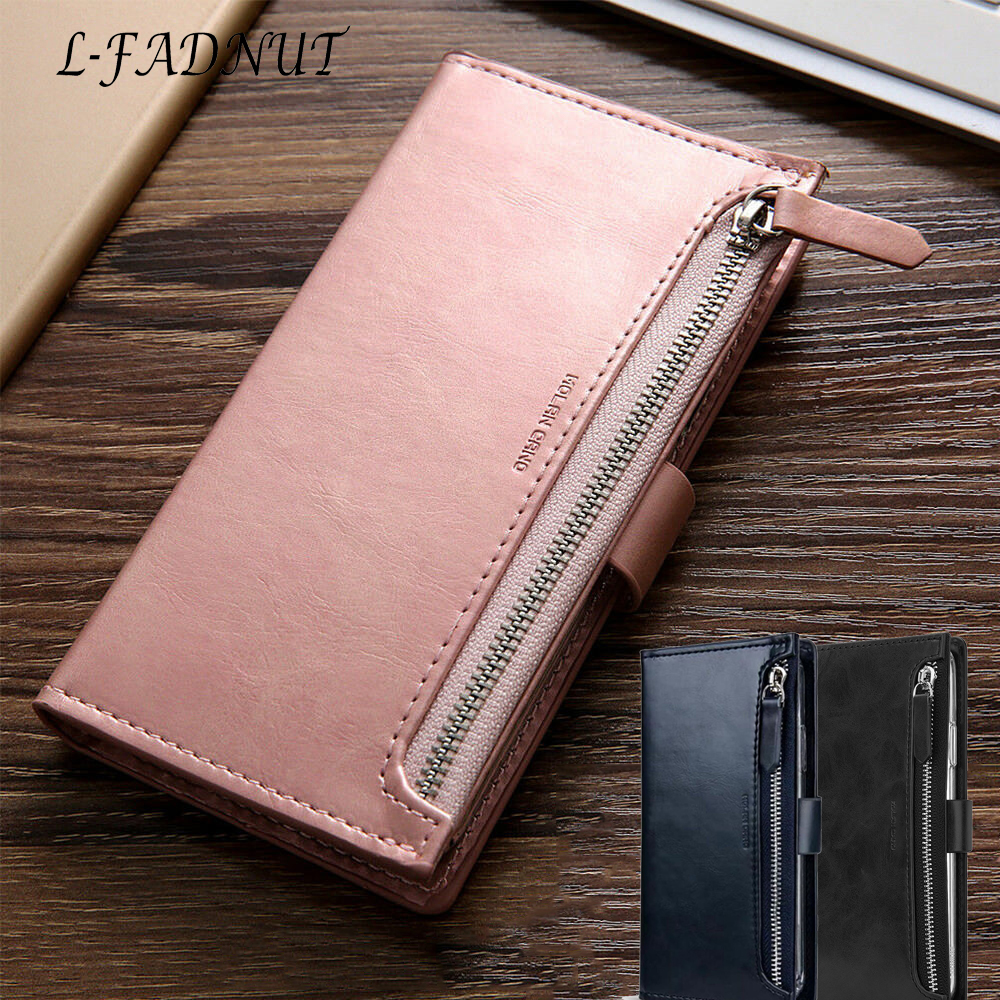 L-FADNUT Zipper Flip Leather Wallet Phone Case For iPhone 11 Pro Max Xr X Xs Bumper For 7 8 6S Plus 6 SE 2020 360 Magnetic Cover