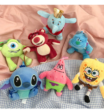 Cartoon dolls Bunny Plush Toy Key Chain Spongebob squarepants Doll Keychains Animal Rabbit for Christmas Gifts