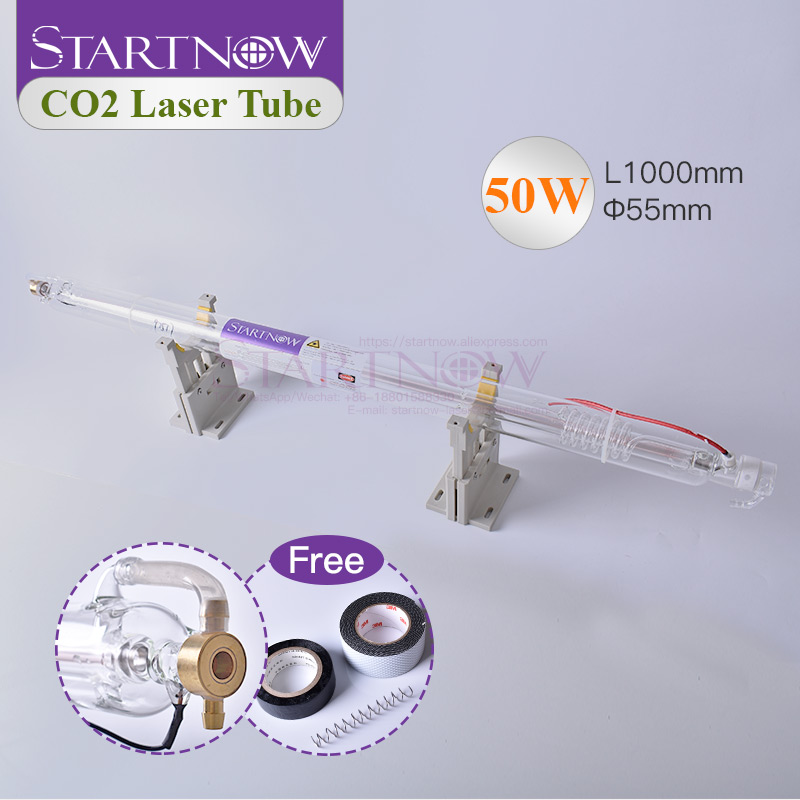 Startnow 50W Laser Glass Lamp CO2 Tube 55W 1000mm Pipe For Laser Engraving Machine CO2 Cuttting Marking Equipment Spare Parts