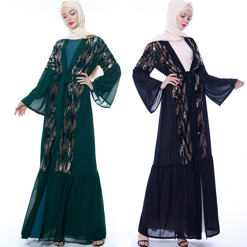 2019 New Free Shipping Muslim Black Abaiya Islamic Clothing Female Sequin Embroidery Stitching Dubai Robes Gown Dress Turkey Ab