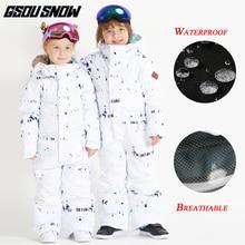 GSOU/зимняя детская Лыжная куртка; водонепроницаемый дышащий ветрозащитный Теплый костюм для сноуборда; Верхняя одежда для мальчиков и девочек; спортивное пальто