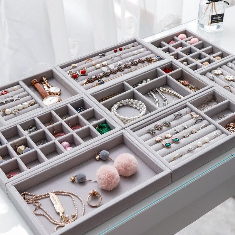 New Drawer DIY Jewelry Storage Tray Ring Bracelet Gift Box Jewellery Organizer Earring Holder Small Size Jewelry Tray Organizer