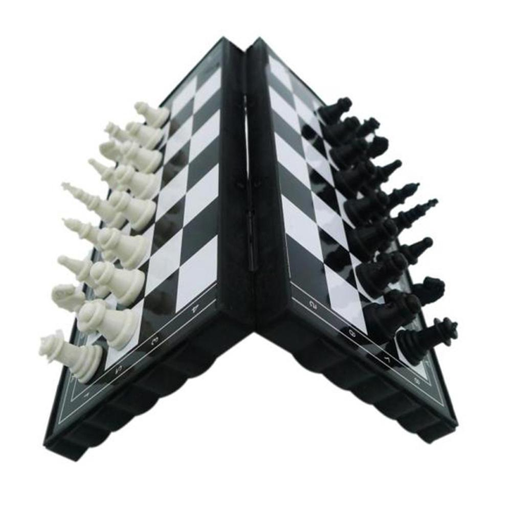Mini Chess Set Folding Magnetic Plastic Chessboard Board Game Portable Kid Toy