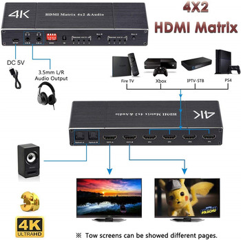 2 0 zgodny z HDMI Matrix 4 #215 2 4K HDR Splitter 4 w 2 wyjście optyczny SPDIF + 3 5mm Jack ekstraktor Audio przełącznik zgodny z HDMI tanie i dobre opinie kebidu Kobiet-Kobiet HDMI2 0 KABLE HDMI HDMI 2 0b Pakiet 1 ZY-HM42 KARTONOWE PUDEŁKO Nieekranowany Do iPoda