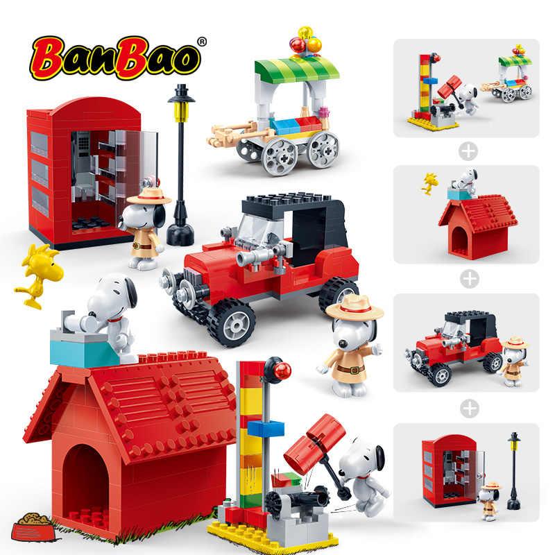 BanBao Горячие IP Snoopy арахис дом техника город Playmobil Juguetes пластиковые строительные блоки, игрушки развивающие модели DIY Кирпичи