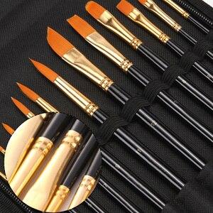 Image 4 - 16Pcs Paint Brushes Set Combination Watercolor Oil Paint Palette Knife Nylon Hair Wood Handle Painting Brush Sponge