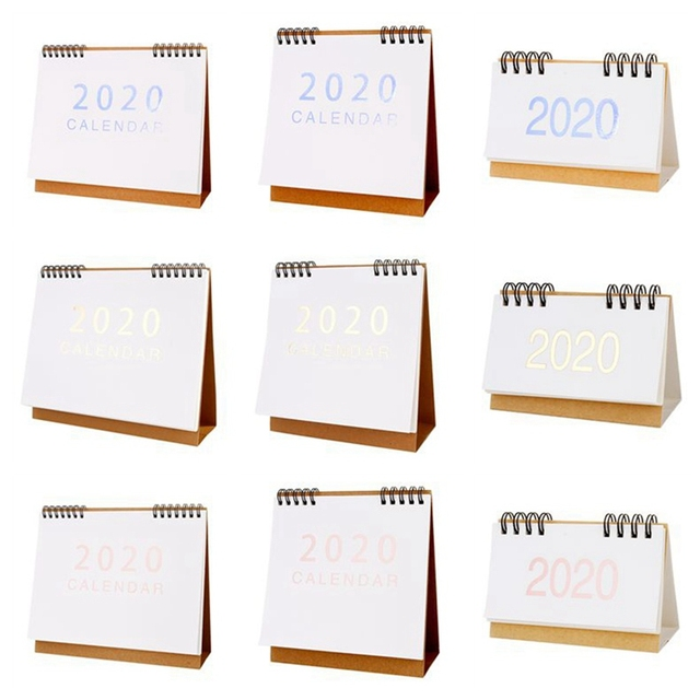 New 2020  Large Medium Small Vertical Kraft Paper Calendar Simple Desktop Calendar Daily Schedule Planner Office School Supply 2